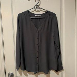 Port Authority Grey Sheer Long Sleeve Blouse sz S